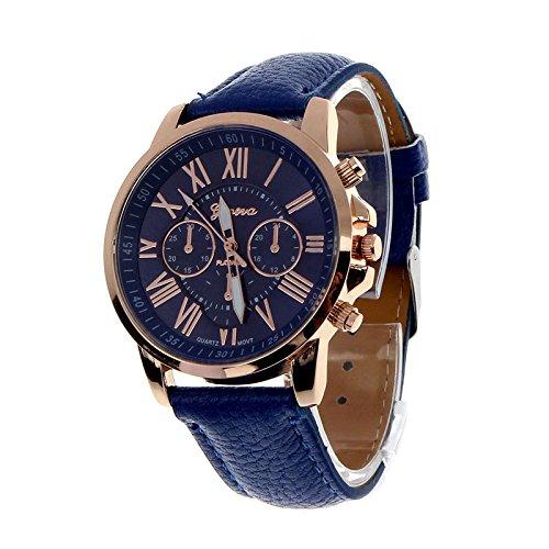Montres connectées Reloj analógico Cuarzo con números Romanos de Ginebra y Piel sintética, Azul Oscuro BU Relojes Mujer Pas cheres