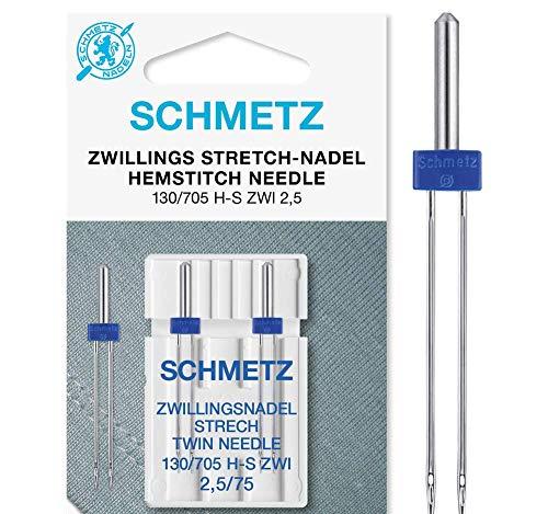 SCHMETZ Nähmaschinennadel 2 Zwillings-Stretch-Nadeln 2,5/75   130/705 H-S ZWI