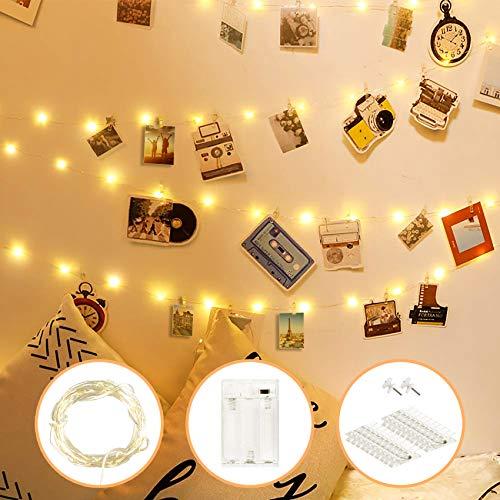 aifulo LED Foto Lichterkette,Foto Clip Lichterketten 2M 20 LED Warmes Gelb,LED Fotoclips Lichterkette Dient zum Dekorieren von Zimmern,Wohnzimmern,Weihnachten,Hochzeiten und Partys-Batteriebetrieb