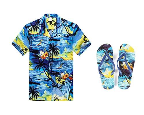 Hawaii Hangover Hombres Que emparejan el Equipo Hawaiano de Luau Aloha Camisa de Tallas Grandes y Chanclas en Puesta de Sol Azul Camisa 2XL Sandalia 8