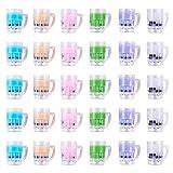Airssory - 40 colgantes de resina de imitación con burbujas de imitación de té de leche Boba con abalorios de arcilla polimérica a granel para joyería y manualidades, 33 x 31 x 24 mm