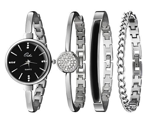 Watch & Bracelet Set For Women - Stunning Bangle, Cuff & Chain Bracelet Jewelry In a Sleek Gift Box
