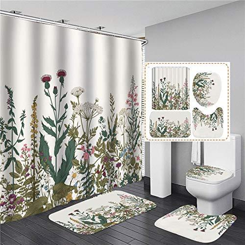 ZHEXI Cortinas de Ducha Impresas en 3D con Ganchos WC 4PCS Alfombra de baño Suave Antideslizante Decoración Creativa para el hogar Cortina de baño de poliéster Impermeable