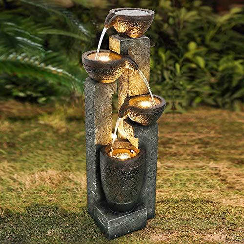WATURE Juego de agua para jardín de 101 cm, fuente LED moderna para exteriores, con sonidos de agua calmante y luz LED eléctrica, cascada de agua, bonita fuente de agua para decoración de jardín