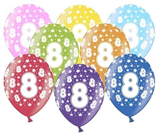 Libetui 10 kunterbunte Luftballons 8 Jahre Metallic 30cm Deko für 8. Geburtstag Party Kindergeburtstag Happy Birthday Dekoration Nummer 8