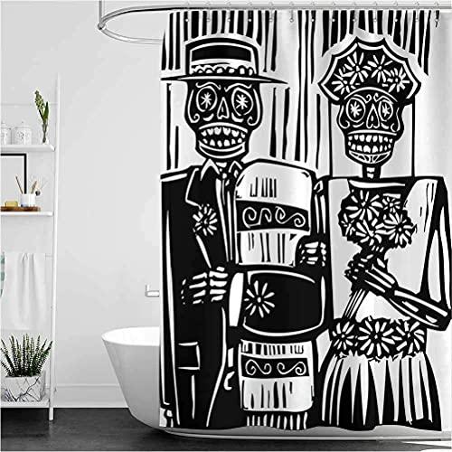 lovedomi Cortina de ducha de hombre muerto con diseño de esqueleto para pareja de bodas en cementerio con decoración de baño para novios y novios, cortina de ducha de tela de poliéster 183 x 183 cm