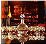 Decantador Decantador de whisky Decantador de vinos de 7 piezas Set Crystal Whiskey Decanter Gold Crystal Glass Retro Extranjero Botella de vino Red Wine Cup El conjunto de vino adecuado para el regal