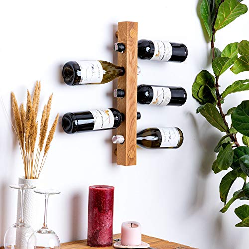 Portabottiglie in legno di quercia massiccio da montare a parete, per 5 bottiglie, moderno portabottiglie per cucina, sala da pranzo, bar