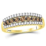 Sonia Jewels Size 7-10k Yellow Gold Round Chocolate Brown Diamond Triple Row Band Ring (1/2 Cttw)