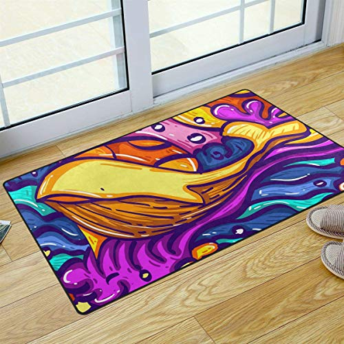 S Husky Entrance Door Mat Colorful Whale in The Sea Wave Creative Design Magic Gorgeous Duty Front Outdoor Rug, Non-Slip Lock Water Welcome Doormat for Entry, Patio 31 x 20 in 2041044