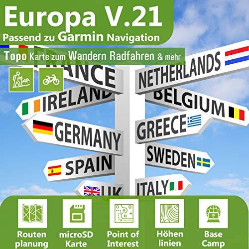 Europa V.21 Topo Karte - Outdoor GPS Navigationskarte für Garmin Monterra, Legend Hcx, Vista Hcx