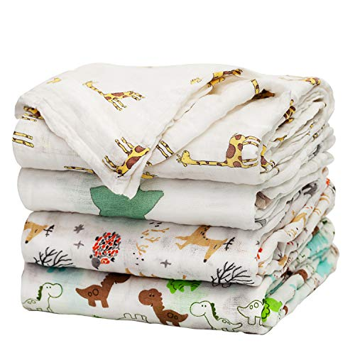upsimples Baby Swaddle Blanket Unisex Swaddle Wrap Soft Silky Bamboo Muslin Swaddle Blankets Neutral Receiving Blanket for Boys and Girls 47 x 47 inches Set of 4  Fox/Elephant/Giraffe/Dinosaur