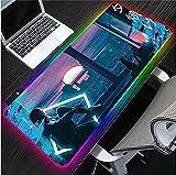 Alfombrillas de ratón Chica Fuera de la Ventana RGB Anime Alfombrilla de ratón LED Brillante Accesorios para Juegos portátil Teclado de Oficina Almohadilla XXL retroiluminado-40x90x0.4cm
