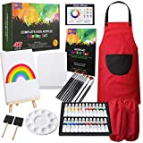 RISEBRITE Kids Art Set 47 Pcs Acrylic Paint Set for Kids Includes Non Toxic Paint, Tabletop Easel, Paint Brushes, Canvas, Painting Pad, and More Art Supplies for Kids