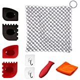 Miker Cast Iron Cleaner 9 Packs XL 316L Stainless Steel Chainmail Scrubber for Skillets Cast Iron Pan with Silicone Hot Handle Holder+2 x Pan Scraper+2 x Grill Scraper+Kitchen Towel (Square)