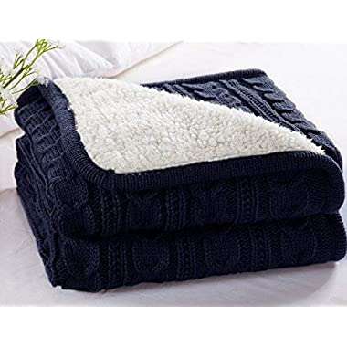 CottonTex Cotton Knitted Blanket Lined with Sherpa Lining Super Soft Warm Cover for Bed Sofa Counch, 47x70 Inches, Navy