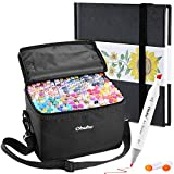 Ohuhu 200 Colors Alcohol Art Markers (Fine & Chisel, Bonus 1 Colorless Blender) + 6.9' × 6.5' Mini PU Marker Pads Art Sketchbook, 120LB/200GSM Heavy Smooth Drawing Papers, 30 Sheets/60 Pages