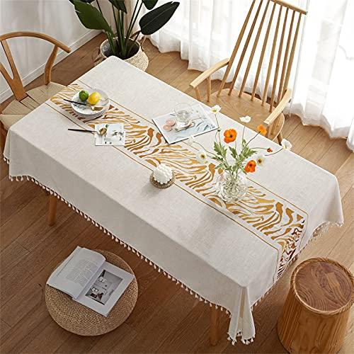 Rectangular Hogar Sala De Estar Cocina Comedor Mantel Poliéster Borla Mantel Raya Negra Impresión Camino De Mesa Hotel Cuadrado Mantel Mantel De Café 140x180cm