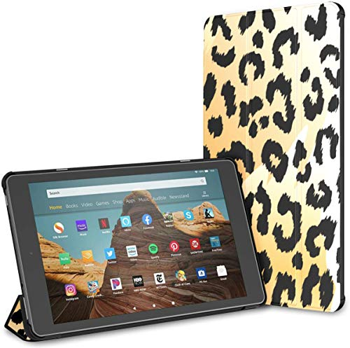 Estuche para Tableta de Colores Brillantes Leopard Animals Fire HD 10 (9.a / 7.a generación, versión 2019/2017) Estuche Protector para Kindle Estuche para Tableta Fire10 Auto Wake/Sleep para Tablet