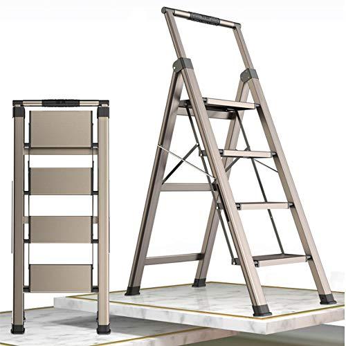 Escalera Aluminio 4 Peldaños Plegable, Uso doméstico, Antideslizante, Ligera y Resistente