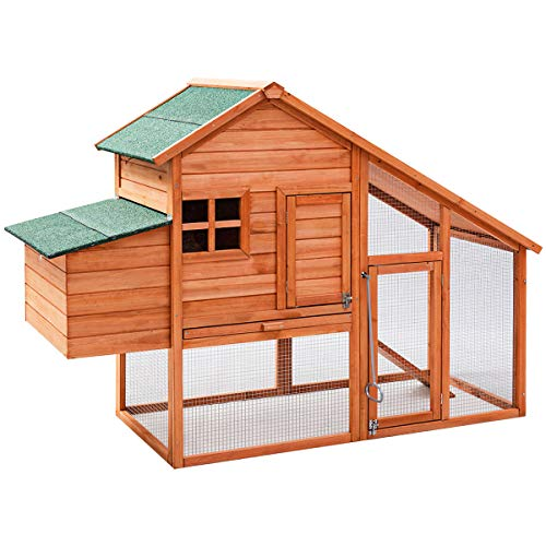 "Tangkula 67"" Chicken Coop Outdoor Garden Backyard Large Wood Hen House Rabbit Hutch Poultry Cage..."