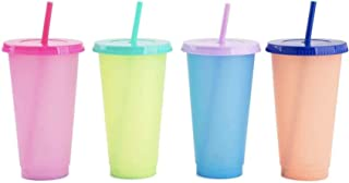 Color Changing Cups 24 oz - 4 Reusable Cups, Lids and Straws,Set of 4 [2020 Newest]