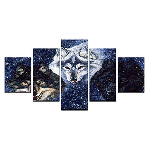 Gbwzz 5-delige canvasfoto op canvas, 5-delige set, schilderen, kunst, decoratie voor thuis, voor de woonkamer, decoratie, drie wolven, wand, kunst, fotobehang, kunstdruk Frame 20x35 20x45 20x55cm