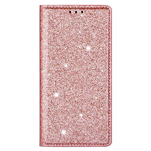 Hülle Glitzer für Huawei P Smart 2021 Handyhülle Bling Diamant Wallet Case Flip Cover PU Leder Tasche Malen Flipcase Schutzhülle Handytasche Skin Ständer Klapphülle Schale Bumper Roségold
