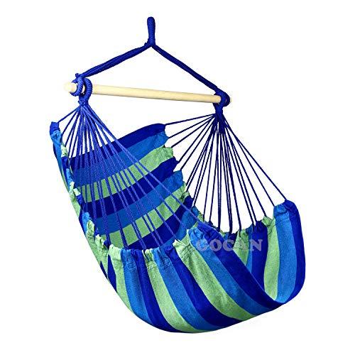 GOCAN Hamaca grande Swing, 110 x 150 cm de carga 350 libras, silla colgante de algodón, barra esparcedora de madera dura, asiento ancho (azul/verde)