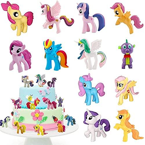 12 Piezas Cake Topper Unicornio Fiesta, Decoración De Unicornio Cake Topper Figuras Unicornio Figuras Decoración Para Tarta Pony Mini Figuras Set