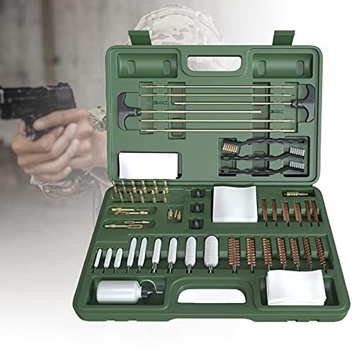 ZPCSAWA Universal Aluminio para Pistolas de Rifle Pistolas Shotgun Portátil Gun Kit de Limpieza Cepillos con Funda de Madera
