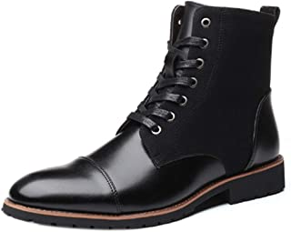 Inlefen Men Boot Fashion Matching Pointed and to Keep Warm High-top Martin Boots