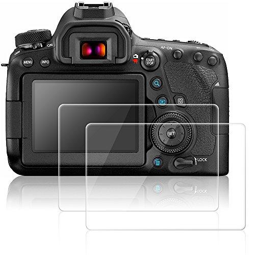 AFUNTA Protectores de Pantalla para Canon EOS 6D Mark II, 2 Paquetes Películas de Protección de Vidrio Temperado Antirayas para Cámaras Digitales DSLR