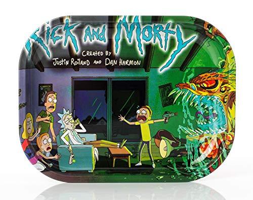Wepeel - Bandeja para liar cigarrillos pequeña de metal. Rolling tray Rick and Morty (18 x 14cm). (Modelo 1)