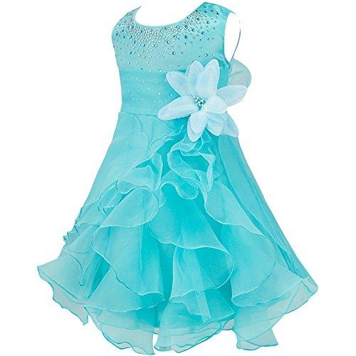 iiniim Baby Mädchen Kleid Prinzessin Kleid Blumenmädchenkleid Festlich Hochzeit Kleid Kleinkind Taufkleid Partykleid Festzug Blau 98