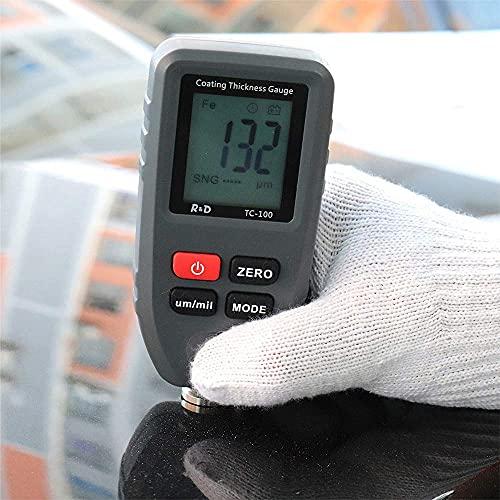Spessimetro per Vernice Auto, Portatile Digitale LCD Misuratore di Spessore 0,1 Micron / 0-1300um Con 6 punti di calibrazione strumento per auto, per Fe/Nfe Automobile Vernice