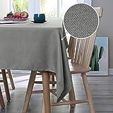 Deconovo Nappe Rectangulaire Polyester Effet Lin Imperméable 140x300cm Gris Nappe de Salon pour la Table