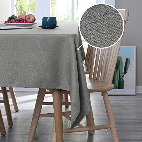 Deconovo Tischdecke Leinenoptik Lotuseffekt Tischwäsche Wasserabweisend Tischtuch 130x130 cm Grau