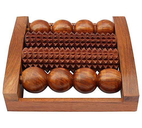 Craftshoppee Wooden Handheld Foot Roller Acupressure Massager For Pain & Stress Relief