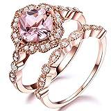 RXSHOUSH Anillo de plata de ley 925 para mujer, anillo de piedras preciosas vintage apilable anillo de boda (dos en uno) rosa - No. 9