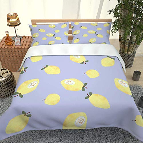 PKTMK Bedding Duvet Cover with 2 Pillowcases Printed Yellow pear print Quilt Cover Set with Zipper Closure Anti-allergic Bedding For Kids adult Super King 260x220cm