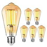 Bombillas Vintage LED E27 8W YUNLIGHTS Vintage Edison Lamparas Bombilla Regulable (equivalente a 60 W) Retro Decorativas Tornillo Edison Bombilla Blanco Cálido [Clase de eficiencia energética A+]