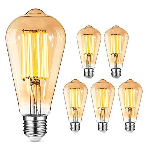 YUNLIGHTS Vintage Edison Glühbirne E27 LED, 6PCS 8W LED E27 Dimmbar Glühbirne Vintage 1000LM 2400K Retro E27 Glühbirne Warmweiß (ersetzt 80W Glühfadenlampe) Ideal für Retro Beleuchtung im Haus Bar usw