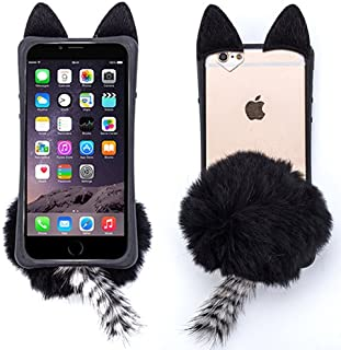 for Apple iPhone 5 5S 5SE Black Cat Bunny Tail Fur Furry Fluffy Case Soft Cover with Free Pouch
