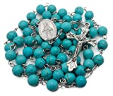 Nazareth Store Turquoise Marble Beads Rosary Catholic Necklace with Miraculous Medal Cross Crucifix Silver Tone Rosaries in Velvet Bag