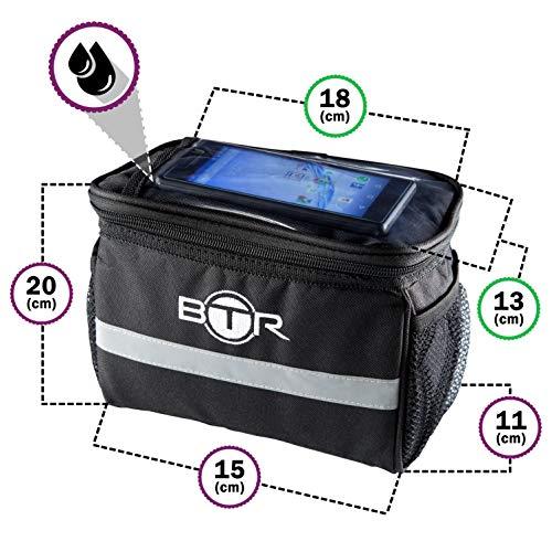 BTR Wasserabweisende Fahrradtasche und Handyhalterung mit durchsichtigem PVC-Fenster für Tablet oder Handy, zur Befestigung am Lenker BZW. Steuer- oder Oberrohr für Karten und Navigationssysteme - 2