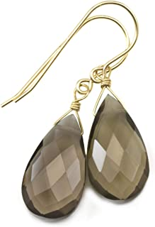 Smoky Quartz Earrings Faceted Teardrops Simple Everyday Neutral Brown Grey Smokey Dangle Drops