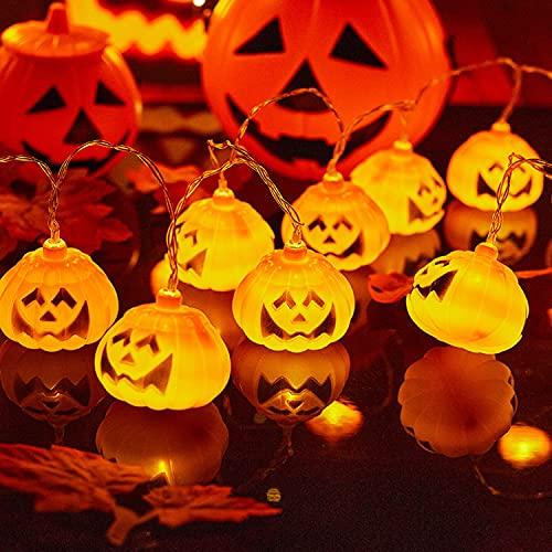 Ninevi decoracion halloween,10 LED Luces de Cadena de Calabaza ,luces decorativas para la Fiesta de Halloween, Vacaciones, Decoración de Interiores y Exteriores
