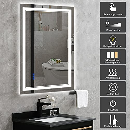 BBE 1000 x 600 mm LED Espejo de baño con luz Regulable antivaho Montaje en Pared (Horizontal/Vertical) (40 x 24 Pulgadas)