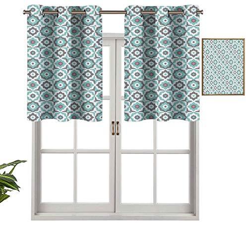 Hiiiman Cortinas opacas con aislamiento térmico para decoración del hogar, diseño de mosaico con margaritas pastel, flores españolas, juego de 2, 137 x 61 cm para ventana del sótano